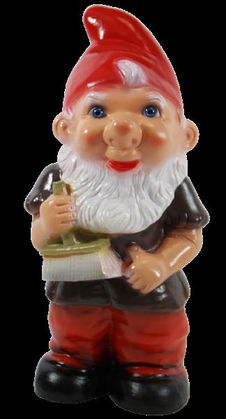 Gartenzwerg Deko Garten Figur Zwerg Maler stehend mit Pinsel in der Hand aus Kunststoff H 29 cm
