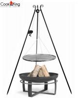 """Set: Dreibein H 180 cm mit Grillrost Ø 60 cm Rohstahl und Kurbel + Feuerschale """"Viking"""" Ø 70 cm"""