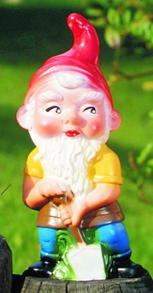 Gartenzwerg mit Spaten Figur Zwerg H 22 cm Gartenfigur aus Kunststoff