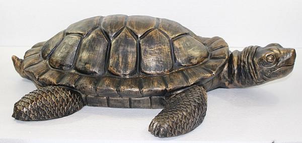 Deko Figur Schildkröte groß Gartenfigur H 16/L 66 cm Dekofigur Kupfer-Antik aus Kunststoff