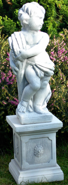 Beton Figuren Statue Putte Vierjahreszeiten Sommer auf klassischer Säule H 79 cm Gartenskulpturen