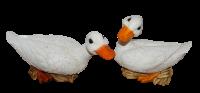 Deko Figur Gans Tierfiguren weiße Gänsefiguren Vogel Kollektion Castagna aus Resin H 19/ 23 cm
