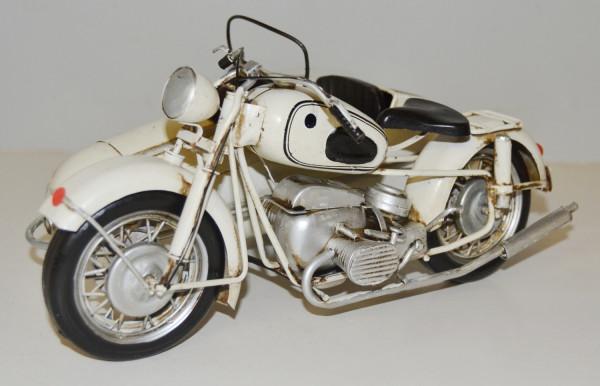 Blechmotorrad Nostalgie Modellauto Oldtimer Marke BMW Motorrad R 60 mit Beiwagen aus Blech L 26 cm