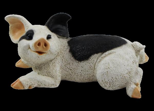 Dekofigur Tierfigur Schwein Ferkel Schweinchen gefleckt Kollektion Castagna aus Resin H 10 cm