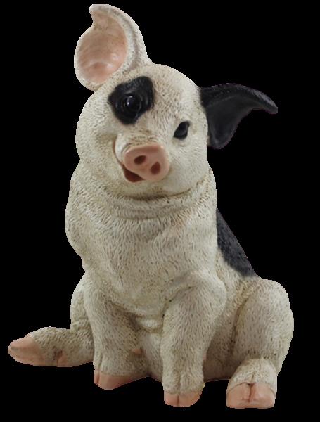 Figur Schwein Ferkel sitzend nach unten schauend gefleckt Kollektion Castagna aus Resin H 22 cm