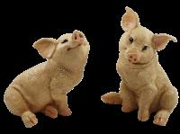 Dekofigur Tierfigur Ferkel Schweinchen 2-er Satz natur Kollektion Castagna aus Resin H 19-22 cm