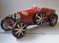 Blechauto Nostalgie Modellauto Oldtimer Automarke Bugatti Type 35C Rot XXL Modell aus Blech L 120 cm