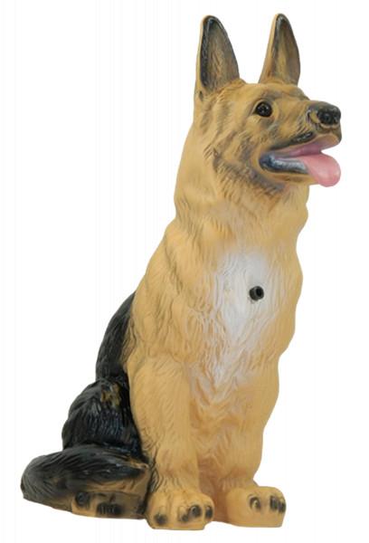 Deko Figur Hund Schäferhund groß H 38 cm Dekofigur mit Bewegungsmelder wau-wau