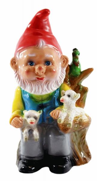 Deko Figur Zwerg H 30 cm Gartenzwerg mit 2 Lämmern und Papagei stehend Gartenfigur aus Kunststoff