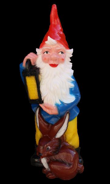 Gartenzwerg mit Laterne und Hase XXL-Zwerg H 112 cm Gartenfigur aus Kunststoff Riesenzwerg Figur