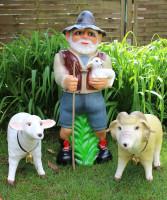 Deko Garten Figur Dekofigur Gartenfigur Hirte Schäfer mit Schafbock und Schaf aus Kunststoff