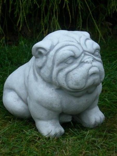 Beton Figur Bulldogge H 22 cm Dekofigur und Gartenfigur