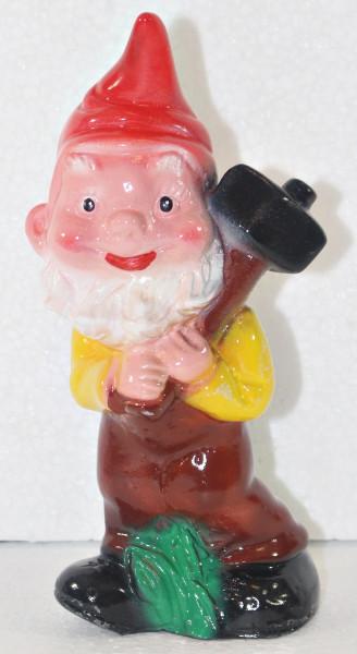 Gartenzwerg Deko Gartenfigur Zwerg mit Hammer stehend H 18 cm