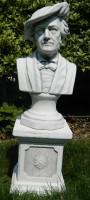 Beton Figuren Skulpturen Büste Komponist Richard Wagner auf klassischer Säule H 70 cm Statuen