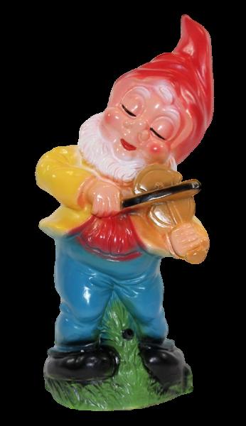 Gartenzwerg mit Geige und Bewegungsmelder Happy Birthday Figur Zwerg H 31 cm aus Kunststoff