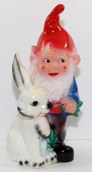 Gartenzwerg mit Hase und Bewegungsmelder Pfiff Figur Zwerg H 38 cm aus Kunststoff