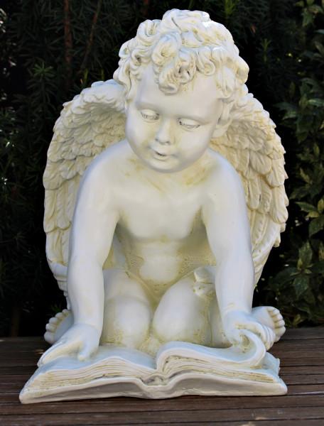 Dekorationsfigur Statue Engel sitzend knieend mit Buch H 36 cm Gartenskulptur aus Kunstharz