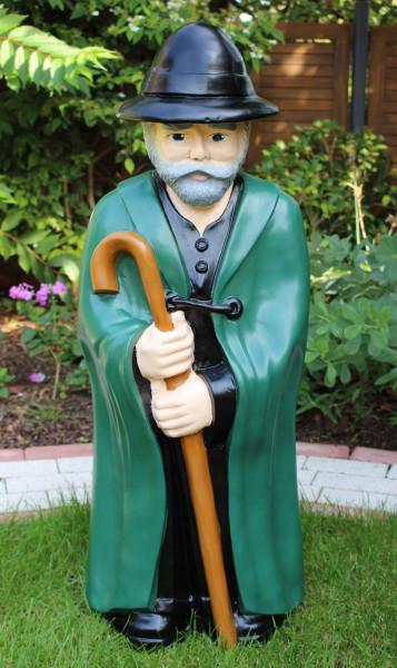 Dekofigur Schäfer stehend mit Stock in Händen haltend Hirte H 94 cm Gartenfigur aus Kunstharz
