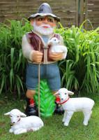 Deko Garten Figur Dekofigur Gartenfigur Hirte mit Lämmlein stehend und liegend aus Kunststoff