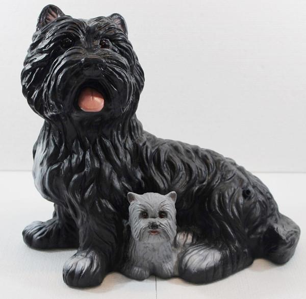 Deko Figur Hund West Terrier schwarz Dekofigur sitzend H 28 cm Hundefigur Bewegungsmelder Wau-wau