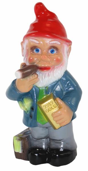 Gartenzwerg Deko Garten Figur Zwerg Manager Geschäftsmann stehend aus Kunststoff H 33 cm