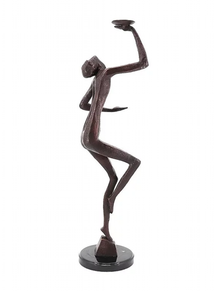Bronzefigur Bronzeskulptur Abstrakte Figur modern auf Marmorsockel H 69 cm Figur Dekofigur Skulptur