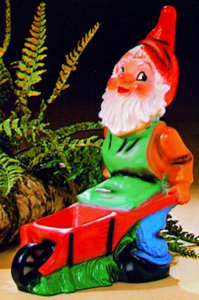 Gartenzwerg mit Schubkarre Figur Zwerg H 45 cm Gartenfigur aus Kunststoff