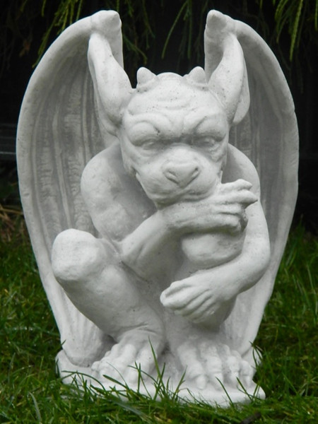 Beton Figur Drache Gargoyle Torwächter H 29 cm Dekofigur und Gartenskulptur