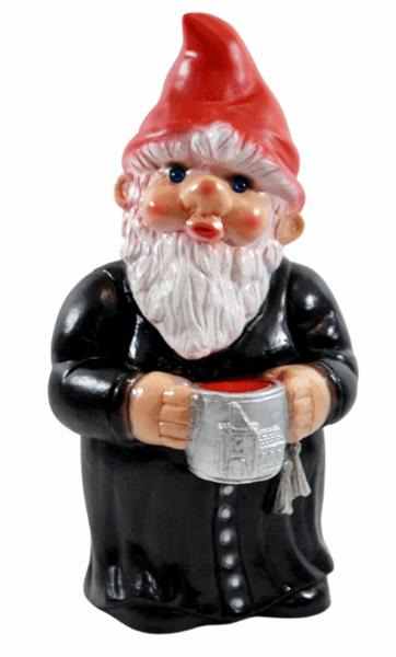 Deko Figur Zwerg Mönch H 29 cm Gartenzwerg Pfarrer Gartenfigur stehend aus Kunststoff