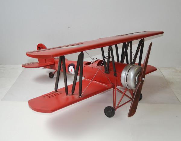 Blechflugzeug Nostalgie Modellflugzeug Oldtimer Marke Avro Tutor Flugzeug aus Blech L 98 cm