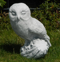 Beton Figur Steinkauz Eule H 26 cm Vogel Dekofigur und Gartenfigur