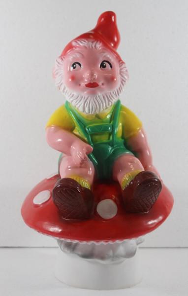 Gartenzwerg Figur Zwerg auf Pilz H 34 cm sitzend Gartenfigur aus Kunststoff