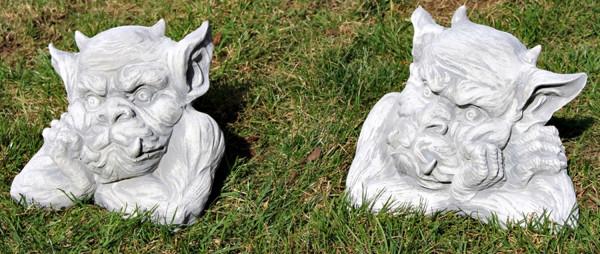 Beton Figur Büste Drache Gargoyle Torwächter 2-er Satz H 18/20 cm Dekofigur und Gartenskulptur