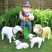 Deko Garten Figur Dekofigur Gartenfigur Hirte mit Schafbock, Schaf und Lämmlein aus Kunststoff