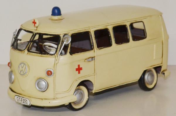 Blechauto Nostalgie Modellauto Oldtimer VW T1/T2 Bulli Bus Ambulanz Krankenwagen aus Blech L 27 cm
